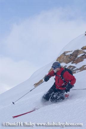 Heath Mackay skiing, Canadian Rockies