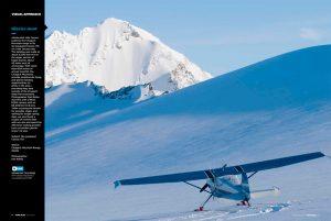 Cessna 170 glacier flying, Chugach Mountains, Alaska