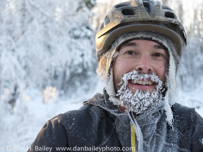 portrait of an Alaska snow biker