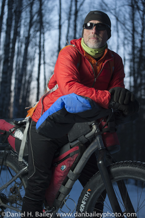 snow biker portrait. Fat tire snow biking, Alaska