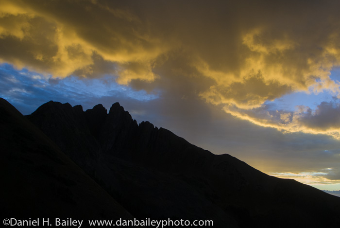 Sunset silhouette of Nokhu Crags, Cameron Pass, Colorado