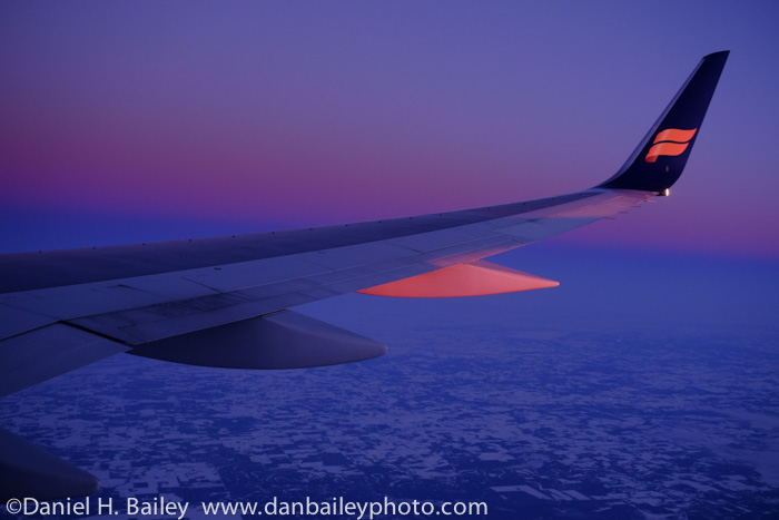 Sunset view from the Icelandair plane, flying over Canada.