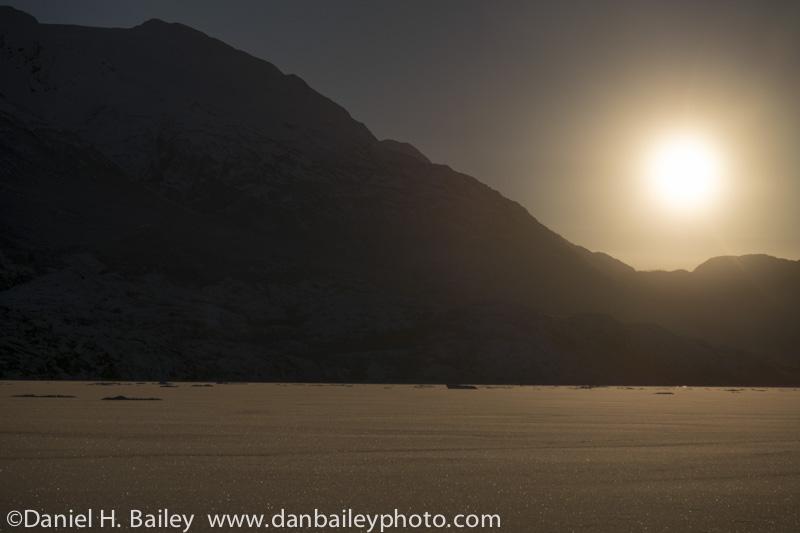 High Shutter speed test. Low sun over the Chugach Mountains, Alaska