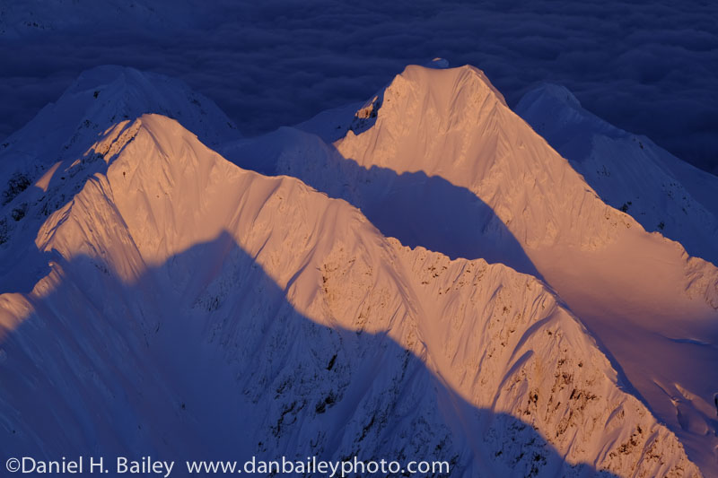 Aerial photo of the Chugach Mountain peaks at sunset, winter, Alaska