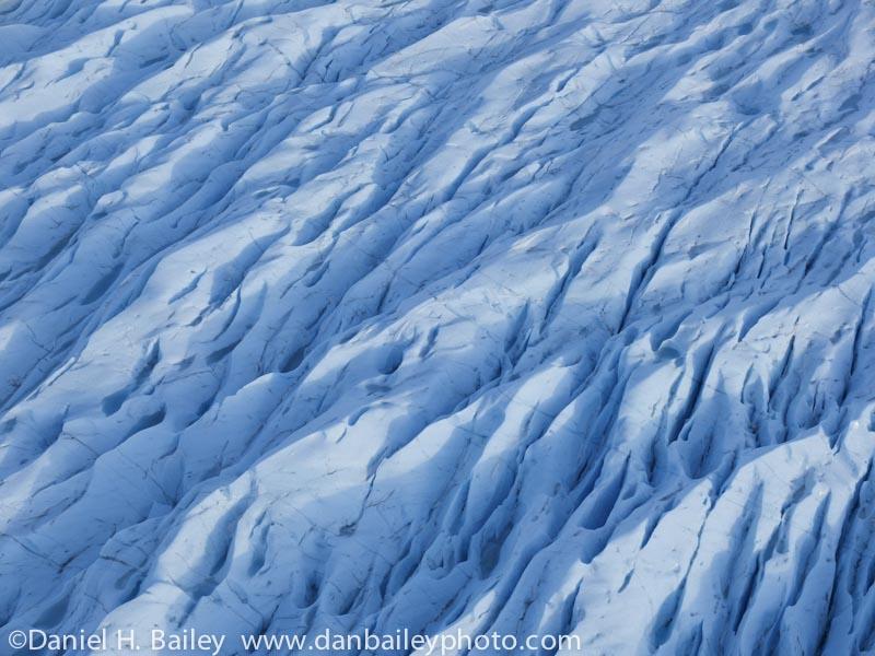 Aerial of the Knik Glacier, in winter, Chugach Mountains, Alaska