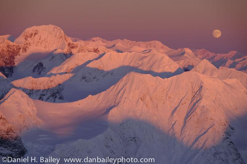 Mt. Gannett and a full moon over the Chugach Mountains, winter, Alaska