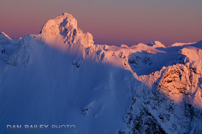 Pink sunset light on Polar Bear Peak, Chugach Mountains, Alaska