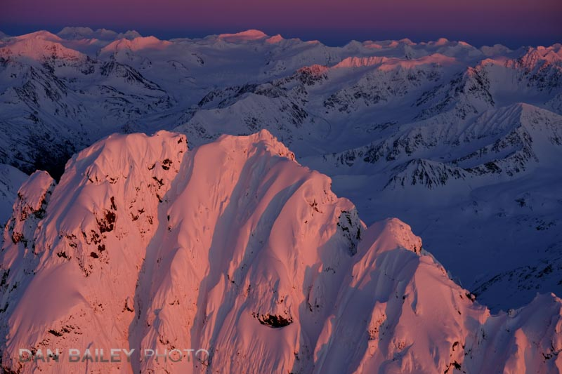 Last light on the summit of Organ Mountain, Chugach Mountains, Alaska