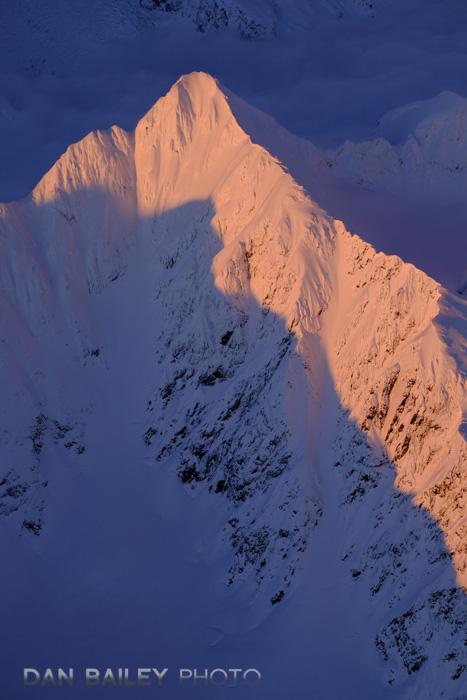 Aerial photo of the Chugach Mountain peaks at sunset, winter, Alaska