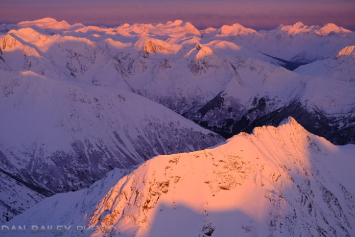 Aerial photo of the Chugach Mountains at sunset.