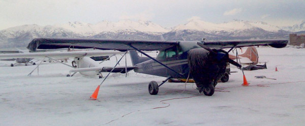 N13205 at Merrill Field with the Chugach Mountains in the background.