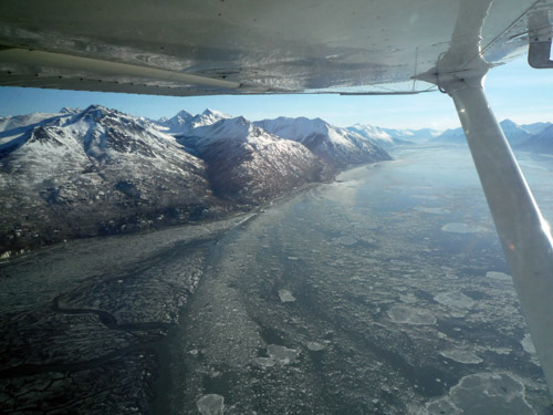 Flying over the Turnagain Arm South of Anchorage in a C172