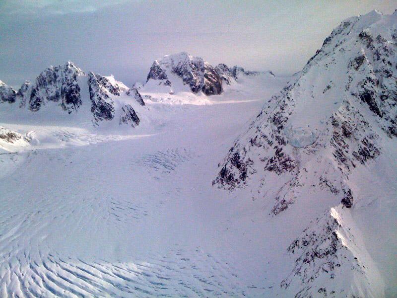 Looking up the Pika Glacier, Alaska Range