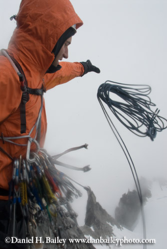 Eric Parsons throwing the rappel rope- Descending from The Throne, Pika Glacier, Alaska
