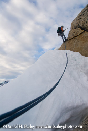Eric Parsons rappelling from the top of The Throne, Pika Glacier, Alaska