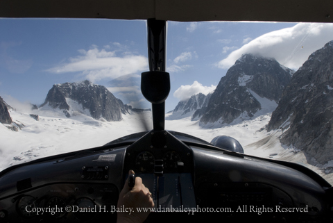 Flying into the Pika Glacier