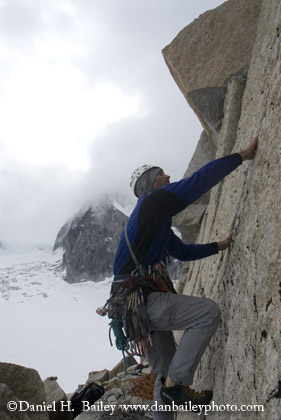 Eric Parsons climbing on the Pika Glacier