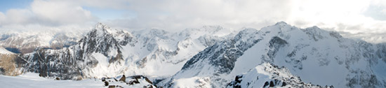 Panorama of the Chugach Mountains from the summit of Cantata Peak (6,410 feet).