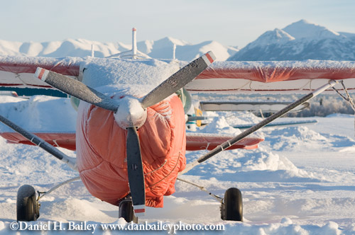 Snow Covered Cessna, Merrill Field, Anchorage, Alaska