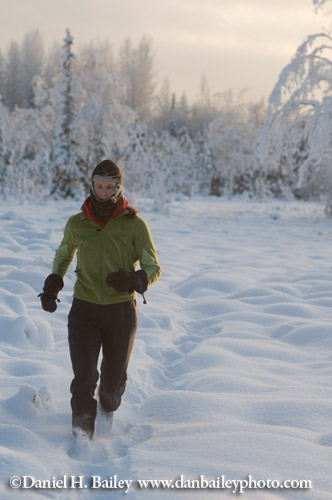 Trail running at 10 below zero. Anchorage, Alaska