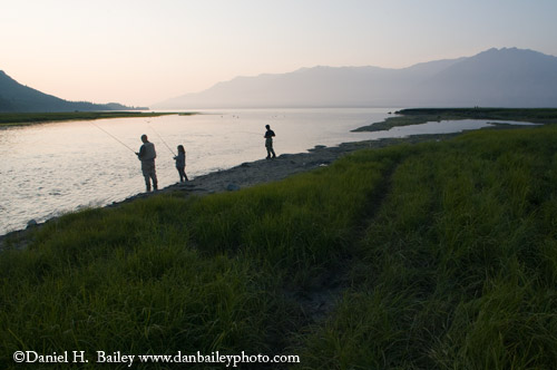 Fishing for silver salmon along the Turnagain Arm, Hope, Alaska