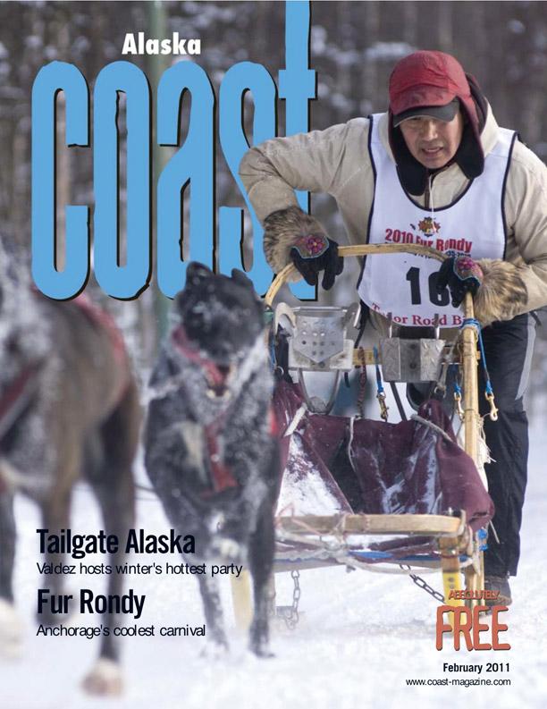 Alaska Coast Magazine Cover- Fur Rondy Dog Sled Racing