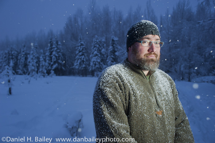 winter portrait, shot with Photoflex TritonFlash, Alaska