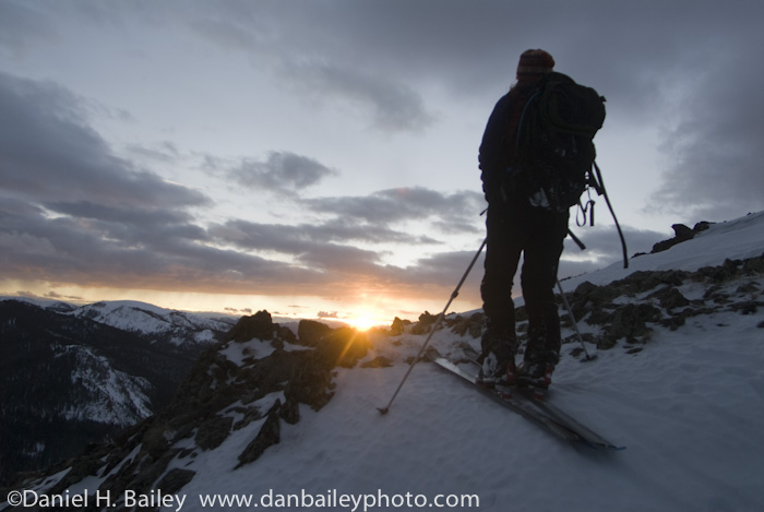 backcountry skiing, sunset, Cameron Pass, Rocky Mountains, Colorado.