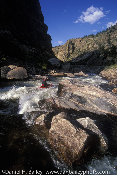 Whitewater kayaking, Cache La Poudre River, near Fort Collins, Colorado