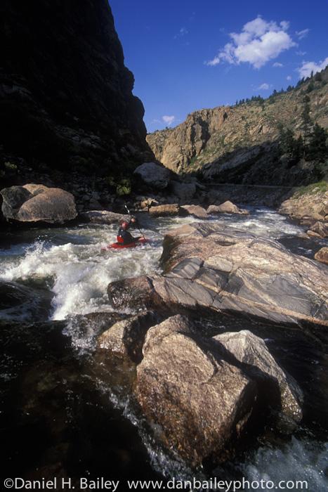 Whitewater kayaking, Cache La Poudre River, near Fort Collins, Colorado
