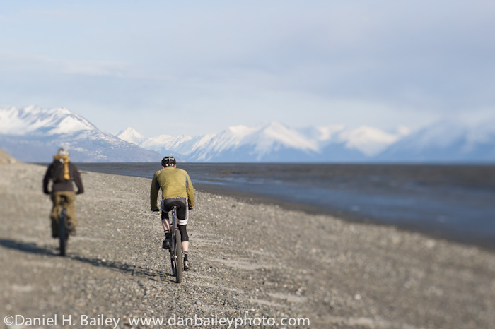 Mountain biking on the beach, Anchorage Alaska