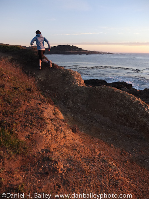 sunset trail running, California Coast