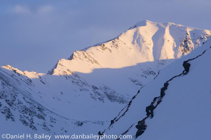 Winter light and mountain landscape, Turnagain Pass, Chugach Mountains, Alaskah