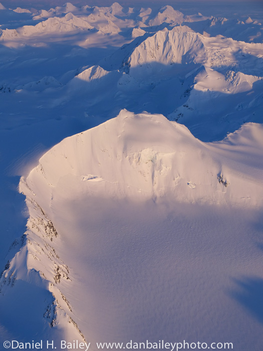 Aerial photo of peaks on Whiteout Glacier, Chugach Mountains, Alaska