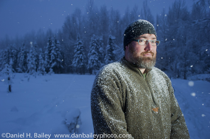 Winter portrat of Jim Kohl, outside in the snow, Anchorage, Alaska