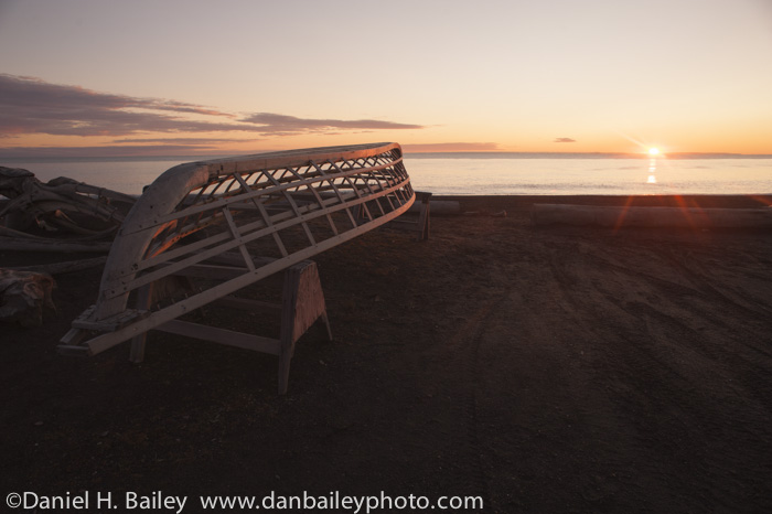 Whaling boat made of driftwood on the edge of the Chukchi Sea, Barrow, Alaska