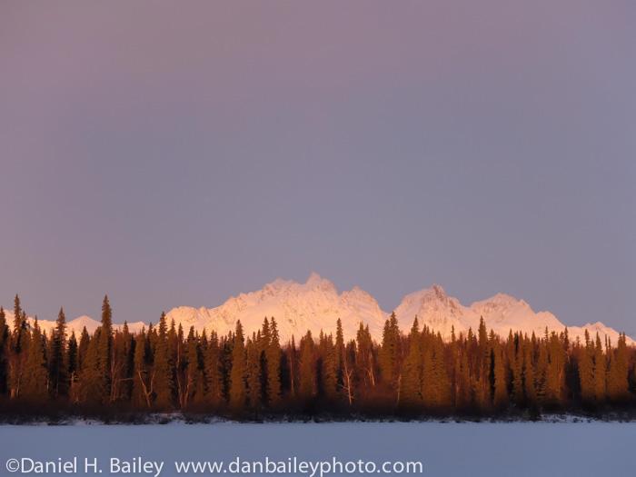 Winter sunrise on the Tokosha Mountais, Alaska Range.
