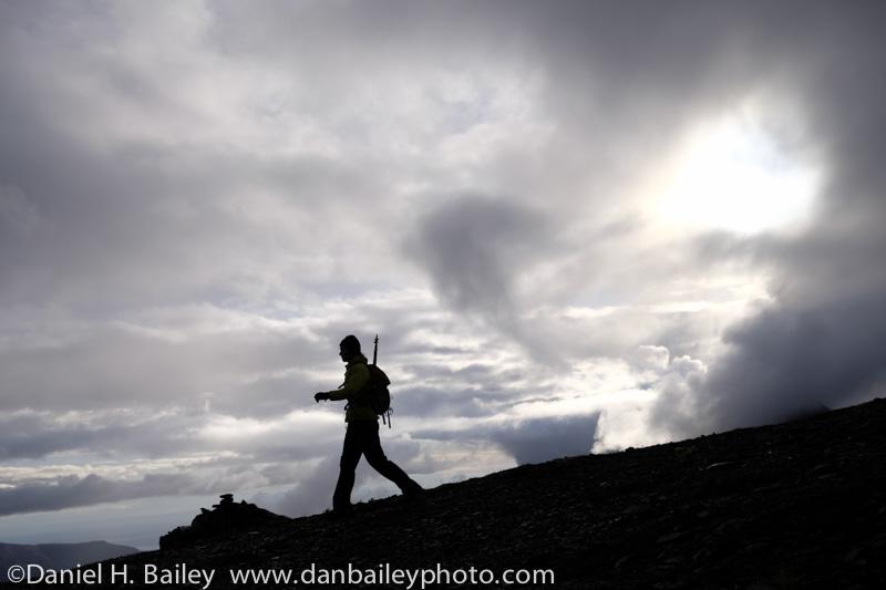 Amy Sebby descending Pepper Peak, Eklutna Lake, Chugach Mountains, Alaska