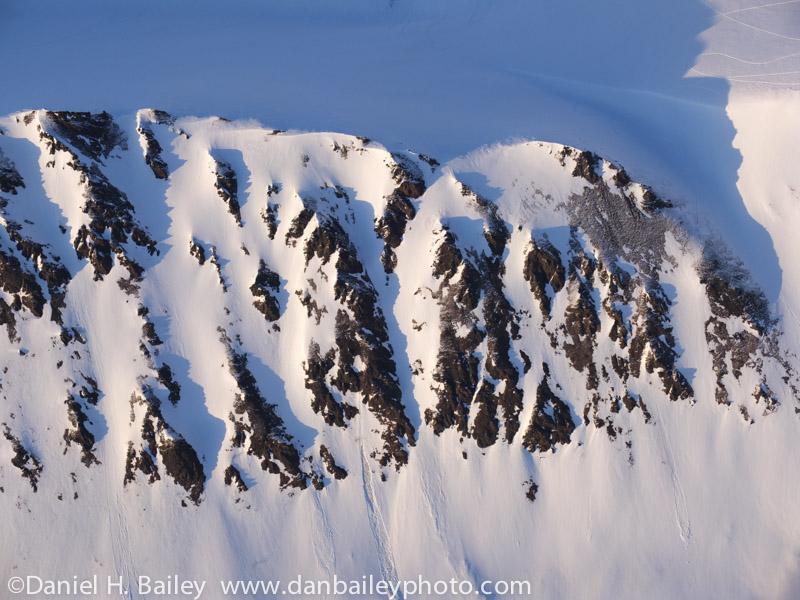Aerial photo of a snowy ridge, Chugach Mountains, Alaska