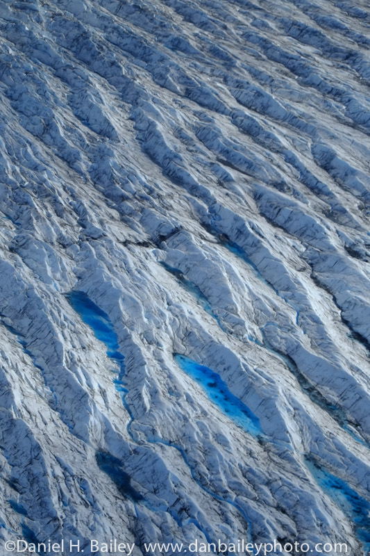 Details and ice formations of the Knik Glacier ice.