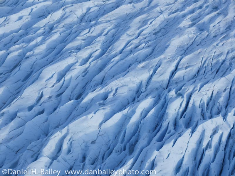 Aerial of the Knik Glacier, in winter, Chugach Mountains, Alaska