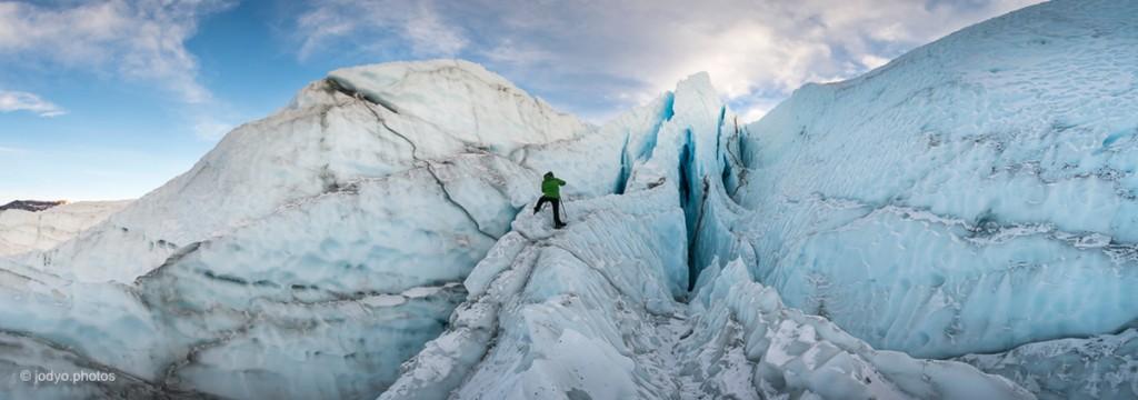Exploring ice features on Matanuska Glacier