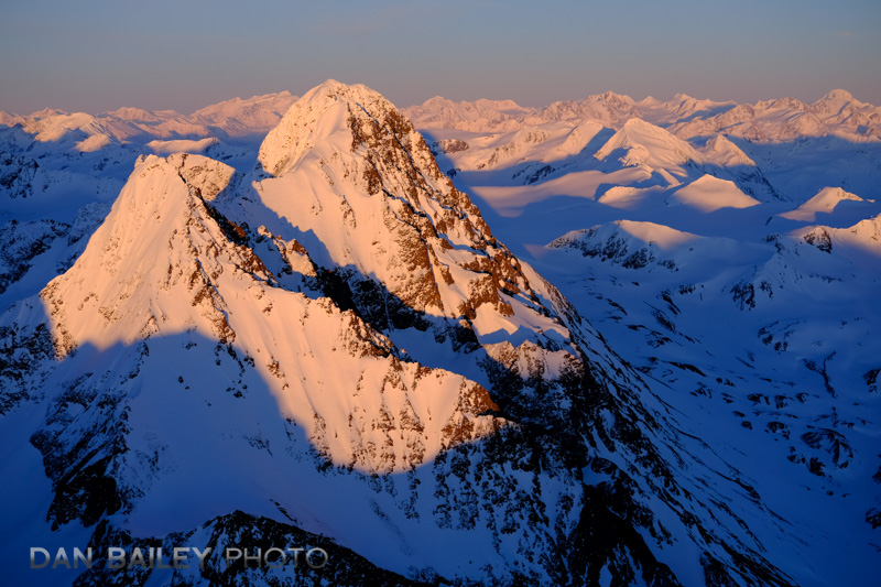 Aerial photo of the Chugach Mountains in winter, Alaska, Mount Beelzebub and the Devil's Mistress