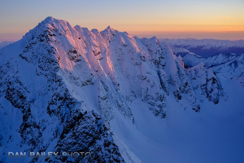 Aerial photo of Organ Mountain at sunset, Chugach Mounains, Alaska