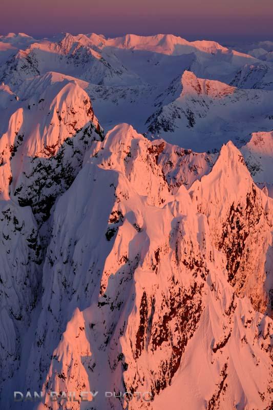 Aerial photo of sunset on the south flanks of Organ Mountain, Chugach Mounains, Alaska