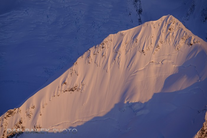 Aerial photos of the Chugach Mountains, near the top of Colony Glacier area shot at sunset. Alaska