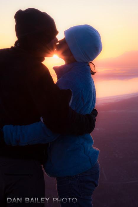 Kissing portrait of Jill and Beat, Flattop Mountain trail, Chugach State Park, Alaska