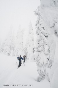 Zac Wiebe and Heath Mackay skiing up the McGill Shoulder. Rogers Pass, Selkirk Mountains, Canada